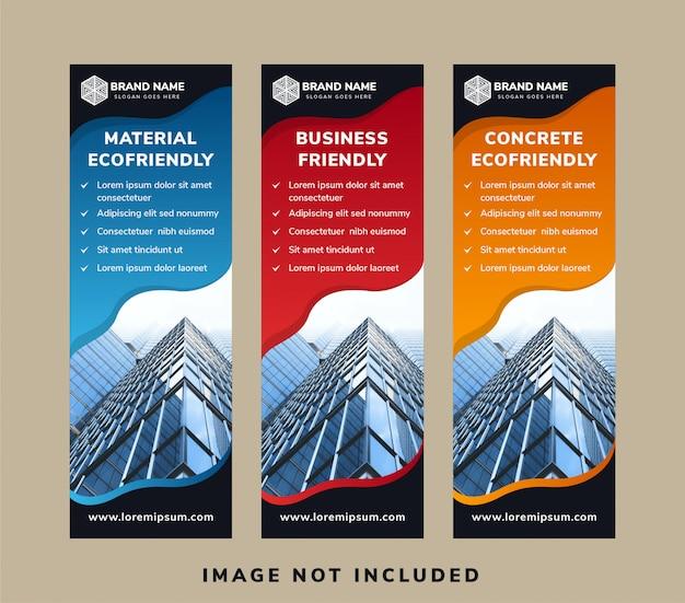 Conjunto de layout de banner vertical para design de capa de promoção de mídia social.