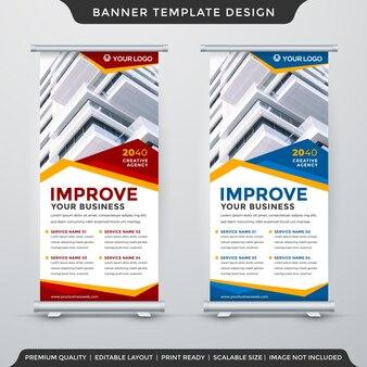 Conjunto de layout de modelo de banner enrolável com uso de estilo abstrato para exibição comercial e anúncio promocional