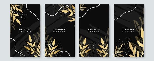 Conjunto de layout de modelo de capa preta e dourada elegante tropical com fundo de folhagem, spa de luxo, hotel, cartão, convite, salão de beleza e muito mais