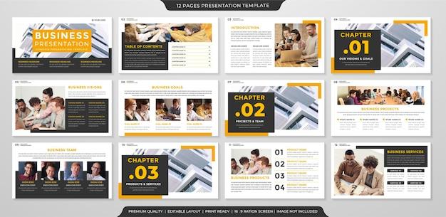 Conjunto de layout de slides de apresentação de negócios