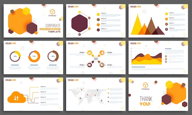 Conjunto de layout dos modelos business presentation templates.
