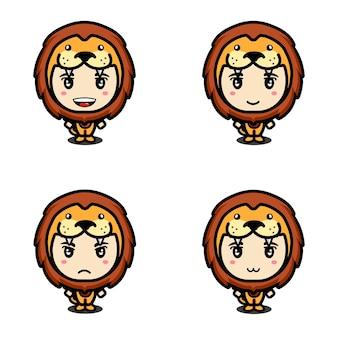 Conjunto de leão mascote fofo
