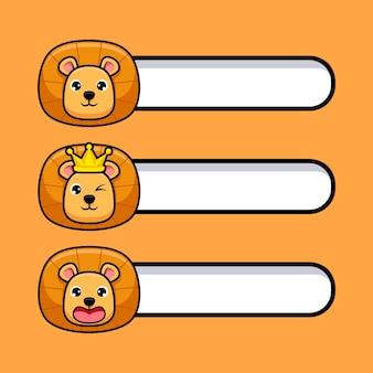 Conjunto de leão-rei bonito com etiqueta de texto em branco