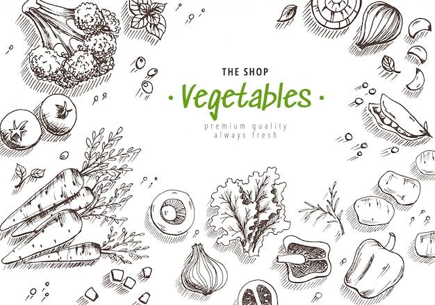 Conjunto de legumes de mão desenhada