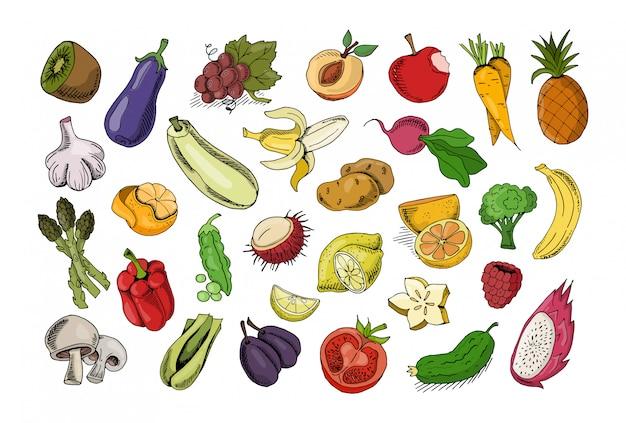 Conjunto de legumes e frutas isoladas