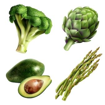Conjunto de legumes em estilo realista