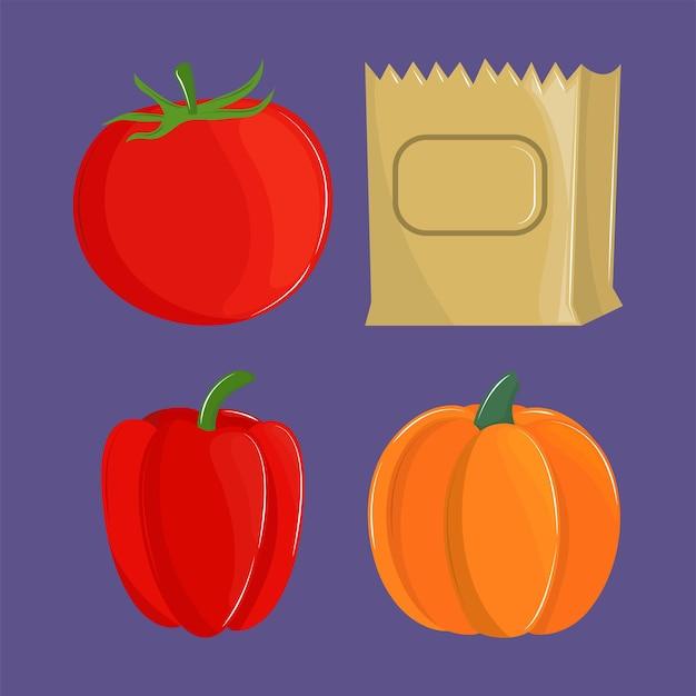 Conjunto de legumes frescos