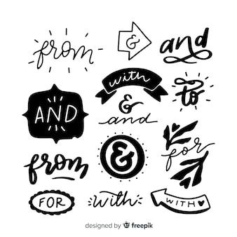 Conjunto de lemas de casamento de mão desenhada