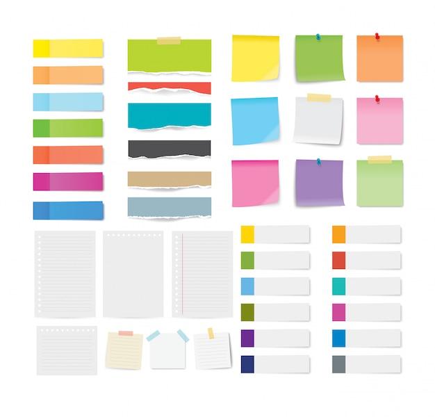 Conjunto de lembrete e folhas de papel rasgado isoladas