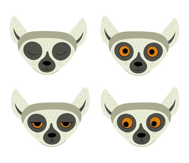 Conjunto de lêmure fofo exótico. ilustração em estilo simples