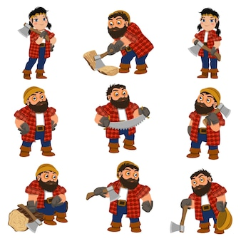 Conjunto de lenhador. conjunto de desenhos animados de lenhador