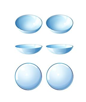 Conjunto de lentes de contato realistas para correção de visão