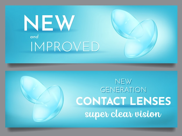 Conjunto de lentes de contato visual de banner de publicidade