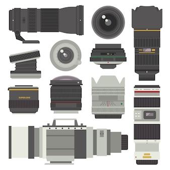 Conjunto de lentes fotográficas.