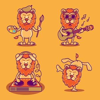 Conjunto de leões bonitos engraçados