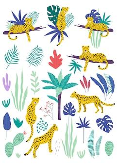 Conjunto de leopardos e folhas tropicais.