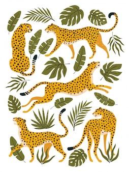 Conjunto de leopardos ou chitas e folhas tropicais. ilustração na moda.