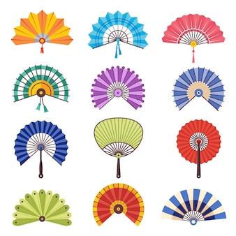 Conjunto de leque de mão japonês colorido