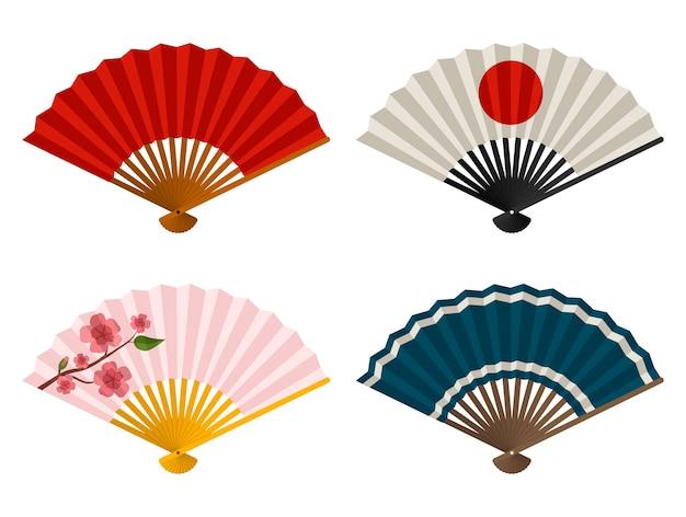Conjunto de leques de mão, leque de dobrar japonês e chinês, leque de gueixa de papel tradicional asiático.