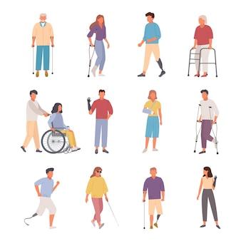 Conjunto de lesões de pessoas com deficiência.