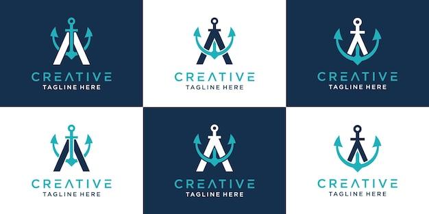 Conjunto de letra a do criativo e modelo de logotipo âncora