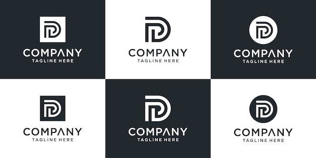 Conjunto de letra criativa pd ou modelo de logotipo dp