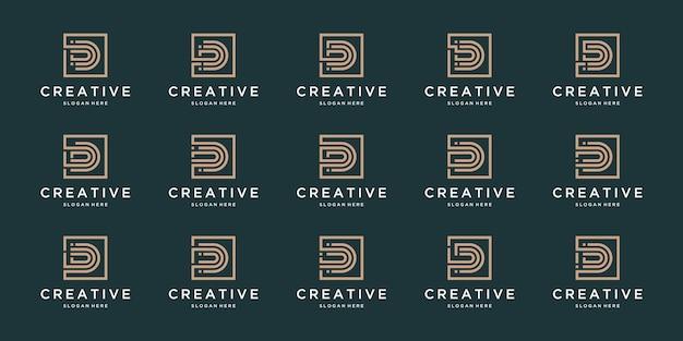 Conjunto de letra d inicial abstrata, modelo de logotipo.