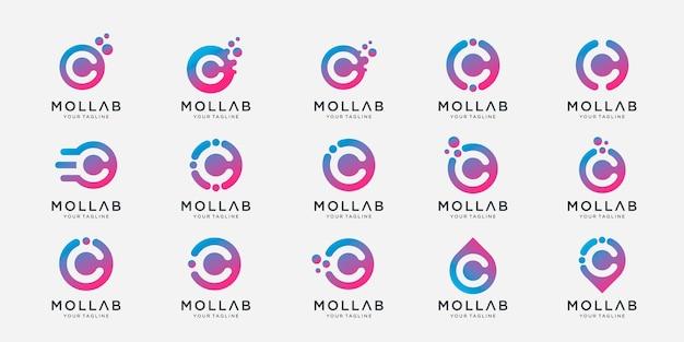Conjunto de letra de coleção c com modelo de logotipo de conceito de ponto e molécula.