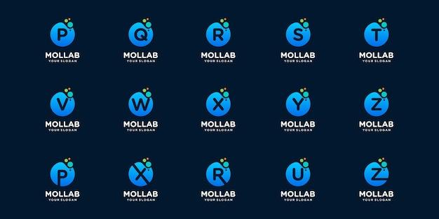 Conjunto de letra de logotipo inicial com modelo de logotipo de conceito de ponto e molécula.