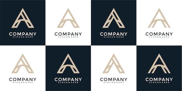 Conjunto de letra de monograma abstrato criativo e design de logotipo
