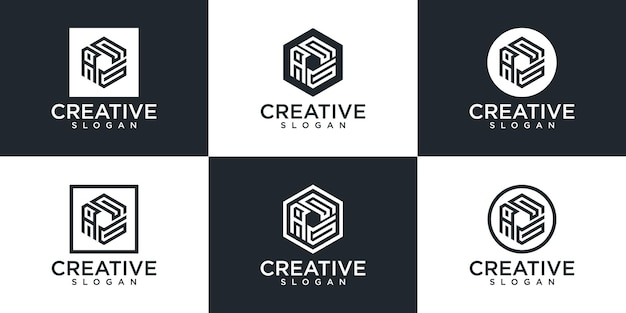 Conjunto de letra de monograma hexágono criativo e design de logotipo