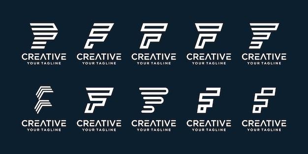 Conjunto de letra f inicial abstrata com modelo de logotipo de estilo de arte de linha.