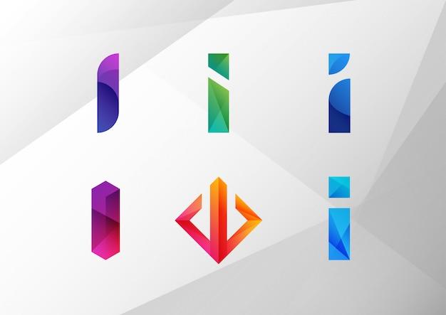Conjunto de letra gradiente abstrata