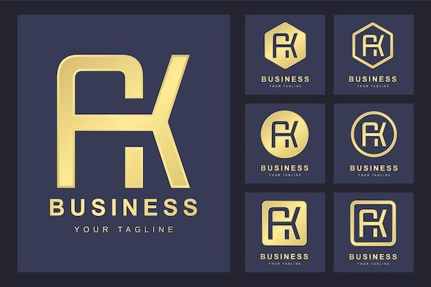 Conjunto de letra inicial abstrata ak, modelo de logotipo dourado.