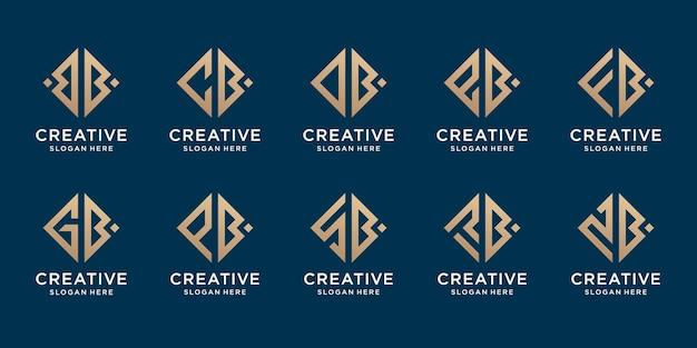 Conjunto de letra inicial abstrata aleatória com modelo de design de logotipo da letra b