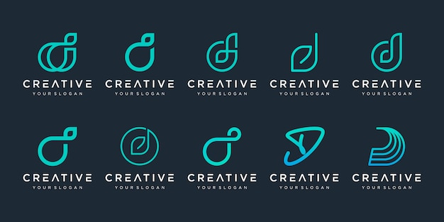 Conjunto de letra inicial abstrata d modelo de logotipo. ícones para negócios de luxo, elegante e simples.