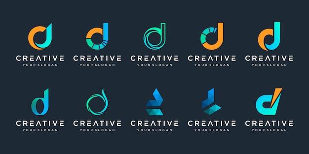 Conjunto de letra inicial abstrata d, um modelo de logotipo. ícones para negócios de tecnologia digital, dados, finanças.