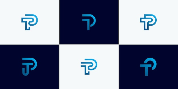 Conjunto de letra inicial abstrata t, modelo de design de logotipo de letra p. ícones para negócios de luxo, elegantes e simples.