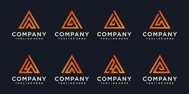 Conjunto de letra inicial abstrata, um modelo de logotipo.