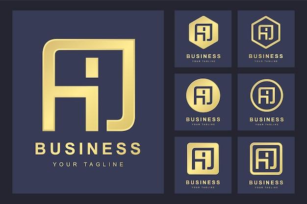 Conjunto de letra inicial aj abstrato, modelo de logotipo dourado.