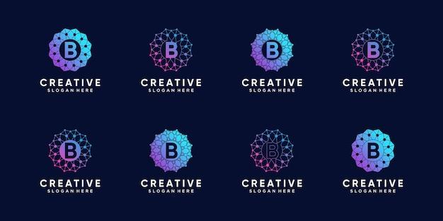 Conjunto de letra inicial b da tecnologia de design de logotipo de monograma com arte de linha e estilo de ponto
