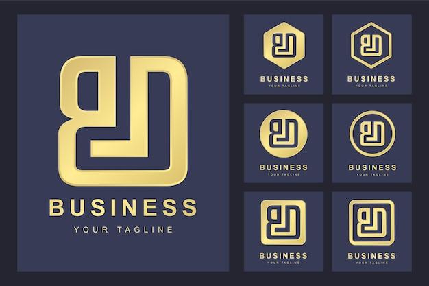 Conjunto de letra inicial bd, modelo de logotipo dourado.
