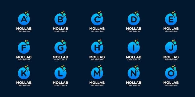 Conjunto de letra inicial com modelo de logotipo de conceito de ponto e molécula.
