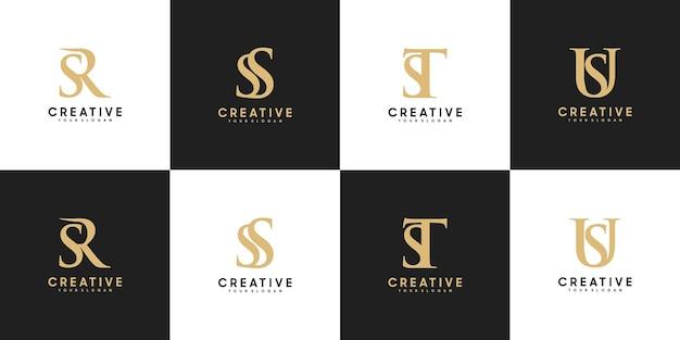 Conjunto de letra inicial do logotipo sr - su, referência para seu logotipo de luxo