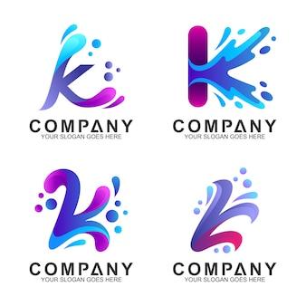 Conjunto de letra inicial k logo design com forma de respingo de água