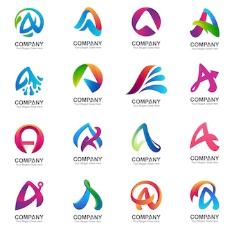 Conjunto de letra inicial um modelo de logotipo
