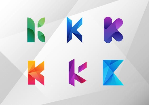 Conjunto de letra k gradiente abstrata
