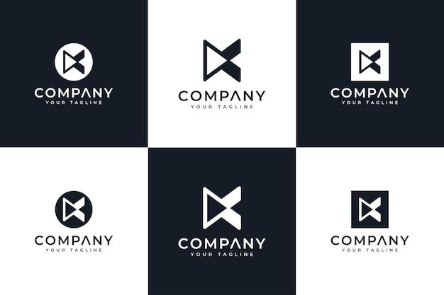 Conjunto de letra ke design criativo de logotipo de jogo para todos os usos