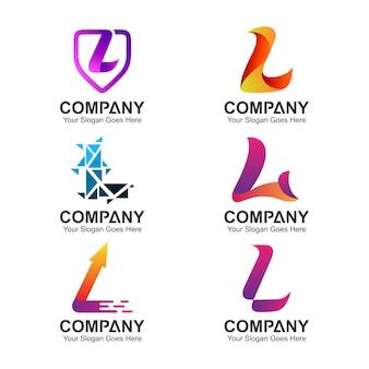 Conjunto de letra l design de logotipo