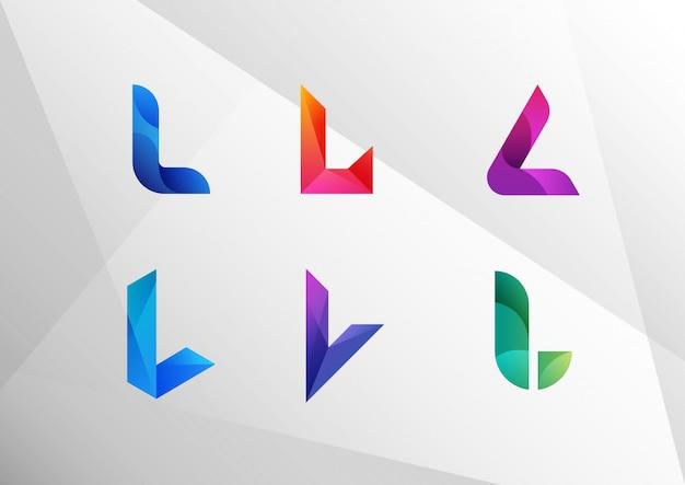 Conjunto de letra l gradiente abstrata